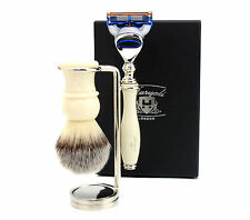 3 Piece Shaving Kit in Ivory Colour( Brush, Gillette Fusion Razor & Brush Stand)