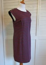 Michael Kors Navy Blue Coral Rugby Striped Shoulder Shift Nautical Dress- Large