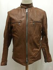 Vintage Brimaco Brown Leather Cafe Racer Motorcycle Jacket Size 42