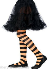 Girls Red Orange Pink Purple Black & White Striped Fancy Dress Costume Tights