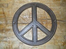 2 Cast Iron Hippie PEACE Sign, Flower Power Plaque Wall Decor 8 INCH Round