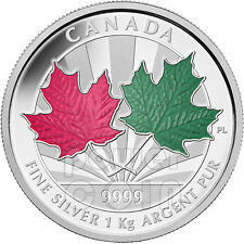 MAPLE LEAF FOREVER 1 Kg Kilo Red Green Enamel Fine Silver Coin 250$ Canada 2014