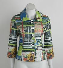 New Joseph Ribkoff Crop Jacket Blazer Silver Multi-Color 3/4 Sleeves Size 8 NWT