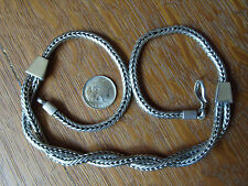 Vintage Indonesia Tribal Sterling Silver Snake Chain Pendant Necklace 17.5 Inch