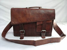 "16x11"" Vintage Leather Briefcase Macbook Laptop Satchel Cross Body Messenger Bag"