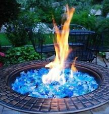 Blue Fire Glass - Fire Pit Patio Heater Luminous Jewel Bahama Blend 10 lbs NEW