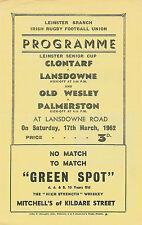 Clontarf v Lansdowne & Old Wesley v Palmerston 17 Mar 1962 RUGBY PROGRAMME