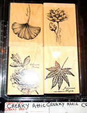 STAMPIN UP ORIENTAL GARDENS 4 RUBBER STAMPS RETIRED GINGKO PEONY WATER LILY
