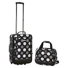 Rockland Rio 2pc Carry On Luggage Set - New Black Dot