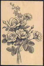 """Old-fashioned boquet of Flowers! Roses Huge 5"""" rubber stamp"""