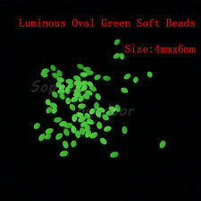 600pcs 4*6mm Oval Luminous Glow Soft Fishing Beads Lumo Green