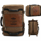 Men Military Canvas Leather Shoulder Backpacks Travel Camping Bag Rucksack Hot