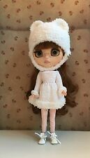 Blythe Doll Outfit-Handmade Knitted Dress With Fur Trim & Matching Fur Hat Set