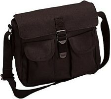 Black Military Ammo Bag Canvas 2 Pocket Carry Messenger Bag Shoulder Bag 2278