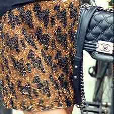 ZARA WOMAN GOLD LEOPARD BEAD EMBELLISHED SEQUINNED BLOGGERS MINI SKIRT S 8 10!