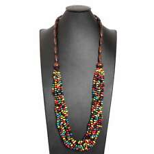 Thai Handmade Costume Jewelry Wooden Beads Long Wood Opera Necklace Colorful