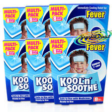 6x Kool 'n' Soothe Soft Gel Children Kids Fever Immediate Relief 4 Sheets