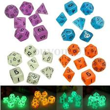 7Pcs/Lot Luminous Multi Sided Dice Gaming D4-D20 4 Colors For RPG Game Playing