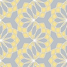 Scala Spiro Grey and Yellow Abstract Floral Wallpaper 304015