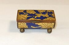 RARE SMALL CHINESE CLOISONNE YELLOW ENAMEL BLUE FLORAL DESIGNED STAMP JAR BOX