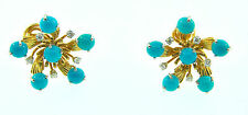 Tiffany & Co. Schlumberger Turquoise & Diamond Platinum 18k Yellow Gold Earrings