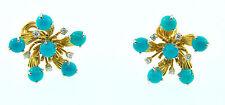 Tiffany & Co. Schlumberger Turquoise & Diamond Platinum 18k Yellow Gold Earrings