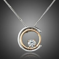 Round Clear White Crystal Silver Gold Necklace Chain Pendant Women Gift Jewelry
