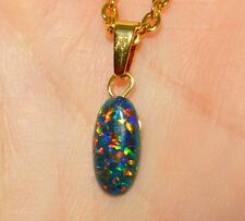 Unusual Black FIRE OPAL Cabochon Oval Wire Wrapped Pendant Necklace Yellow Gold