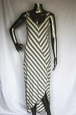 Womans ATHLETA Long Gray & White Stripe Maxi Dress Size M
