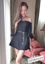 Asian Korean Womens Fashion Style Casual Cute Off Shoulder Little Black Dress