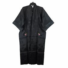 Traditional Chinese Floral Embroidered Kimono Robe Rayon Top Black S New