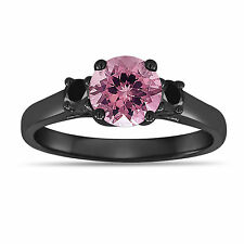 Pink Tourmaline Three Stone Engagement Ring 14K Black Gold Vintage Style 1.15ct