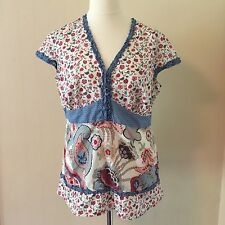 Absolutely glorious Per Una Size 18 Flowery Cotton Top . So fresh and pretty