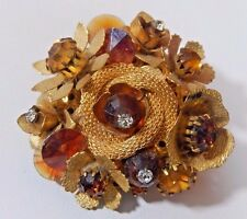 VTG EARLY  MIRIAM HASKELL ERA ORNATE BRASS RHINESTONE  FLOWER WIRED BROOCH PIN