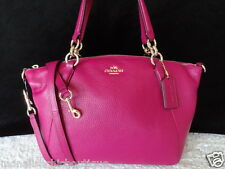 Coach Kelsey Pebbled Leather Satchel Handbag Crossbody Bag Small Cranberry NWT