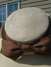 Vintage Womens Woven Hat Ivory Brown ribbon mesh Union Made hatter cap Millinery