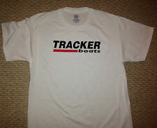 TRACKER BOATS LARGE WHITE T-Shirt with 2 Stickers Bass Boat Fish You get 2 Decal