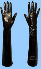 NEW WOMENS size 8 EXTRA LONG BLACK PATENT LAMBSKIN LEATHER SILK LINED GLOVES