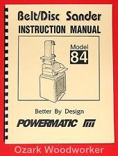 POWERMATIC Model 84 Belt/Disc Sander 6x48 Instructions Parts Manuals 1011