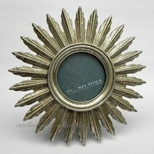 Deco Sunburst Antiqued Silver Picture Frame Cast Resin For 3 Inch Round Photo