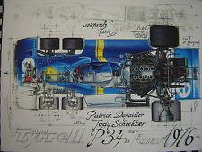 TYRRELL P34 1976 DEPAILLER SCHECKTER F1 GRAND-PRIX tirage numéroté et signé