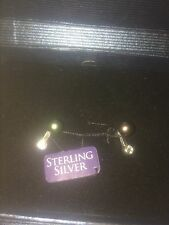 NEW in BOX 925 SS Silver CZ Black Freshwater Pearl 5-6mm Button Post Earrings
