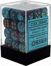 Chessex Gemini Purple Teal w/ Gold 12mm (Small) 36 Dice Set CHX26849