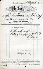 NEUHALDENSLEBEN, Rechnung 1900, Mineralwasser-Anstalt Krausse & Co.
