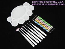 5X NAIL ART DOTTING PEN + 7X PAINTING DRAWING POLISH BRUSH UV GEL TOOLS SET PINK