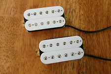 HUMBUCKER PICKUP SET WHITE ALNICO 2 MAGNETS VINTAGE OUTPUT FOUR CONDUCTOR WIRED