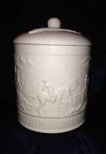 "WEDGWOOD ENGLAND DEVONSHIRE BISCUIT BARREL 6"" OFF WHITE EMBOSSED HORSES CANISTER"