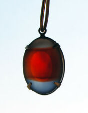 VINTAGE 2 RED GRAY BLACK DIAMOND STRIPED FROSTED GLASS OVAL PENDANTS 18 X 13mm