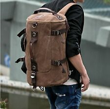 Coffee Men's Vintage Canvas Backpack School Bag Satchel Hiking Bags Rucksack