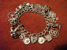Vintage Silver Charm Bracelet,  24 Charms Inc Nuvo.